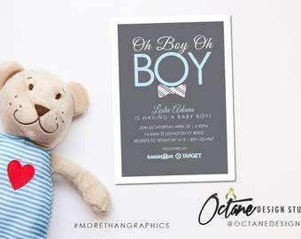 5x7 inch 'Oh Boy Oh Boy' Baby Shower #106