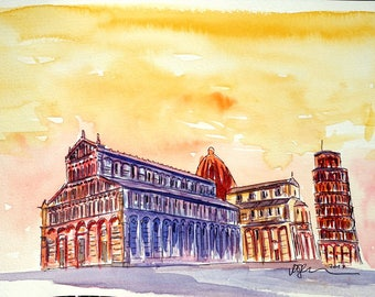 Leaning Tower of Pisa Italy at Golden Sunset - Limited Edition Fine Art Print - Original Painting available