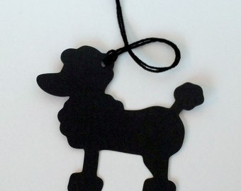 Poodle Tag, French Poodle Die Cut, Shaped Hang Tag, Party and Gift Decor, Paris France Theme, 50's Theme