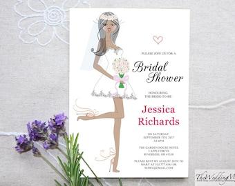 Bridal Shower printable, Bridal illustration, Bridal Shower invitation Template, editable shower template Instant Download, PDF BS01b