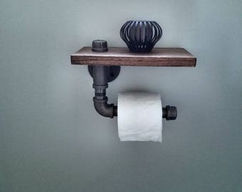 Steampunk Toilet Paper Holder/Pipe/Rustic/Toilet Paper/Bathroom/Industrial/Toilet Paper Holder/Shelf