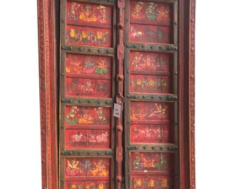 18c Antique Indian Temple Doors Red colorful hand painted Ganesha Conscious Energy Grounding Iron ARTISAN Crafted Door with frame