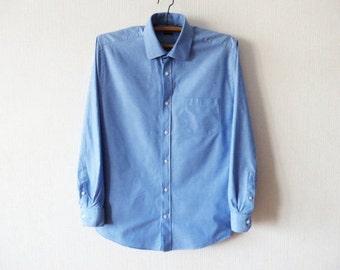 PIERRE CARDIN Shirt Vintage Light Blue Shirt Men Button up Shirt Blue Dress Shirt Long Sleeve Shirt Formal Designer Shirt Large to XL Size