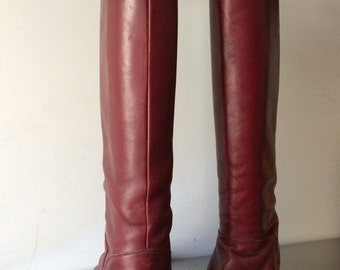 Women's Vintage Accessories / Vintage Leather Boots / 1970's Burgundy Leather Boots