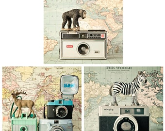SALE - Childrens wall art, set of 3 quirky and fun photos, toy animals, vintage camera photos, vintage maps, nursery art, boys room decor