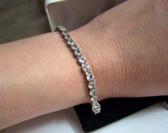 Sterling & Gemstone Tennis Bracelet Genuine White Topaz Authentic Vintage Line Bracelet  Artisan Altered