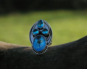 Blue Topaz ring size 6.75 US or 52.75