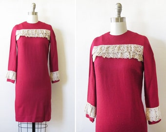 60s mod dress, 1960s cranberry red mini dress, vintage 1960s sheath dress with lace trim, extra small xs