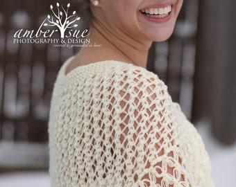 Bridal Shawl - Ivory Wedding Shawl - Cream Bridal Shrug - Cream Knitting Shawl - Cream Knitting Capelet - ready to ship