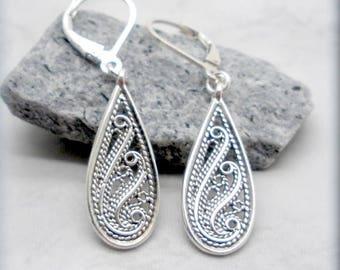 Swirl Filigree Earrings, Teardrop Earrings, Sterling Silver, Leverback Earrings, Drop, Romantic, Lightweight, Minimalist, Everyday