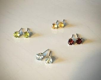 Choose: Garnet, Blue Topaz, Peridot, or Citrine gemstone and 925 sterling silver stud earrings