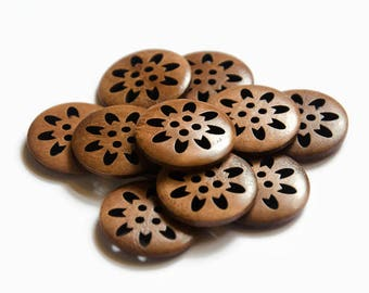 4/8/16 Buttons 25mm - Buttons Round Wood Buttons for Clothing Buttons for Crafts Brown Buttons Flower Button - For Knitting - Sewing Buttons