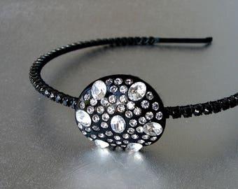Sparkly Black Rhinestone Headband Bakelite Jeweled Hairpiece Diadem Headpiece Vintage Wedding Formal Halloween Stage Theater Costume Jewelry