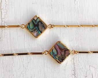 Abalone mussel choker, Boho Gypsy nomad jewelry, gold necklace, gift for you