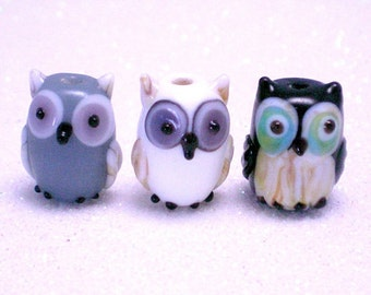 15 pieces 13mm Owl Lampwork Beads, Glass Bird Beads, gray, white, black