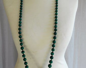 Vintage Malachite Flapper Necklace - Very Long