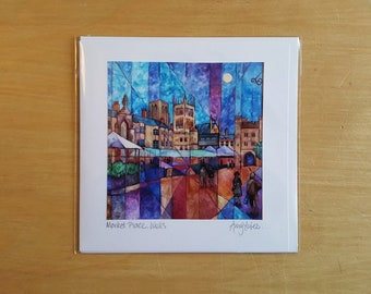 Market Place, Wells by Amy Yates, Handmade Greetings Card