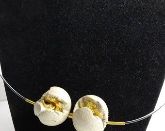 "Necklace with concrete contemporary jewelry ""beads orbit...""."