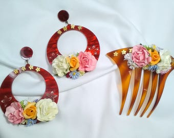 Flamenco earrings and comb, colorful flowers earrings, flamenco complement, mother's Day