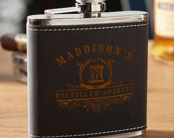 Carraway Monogram Engraved Hip Flask - Unique Personalized Flask - Great Gifts for Any Occasion