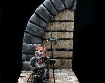 "Diorama ""First snow"" with Painted Corgi Guardian Battledoge collectible miniatures ."
