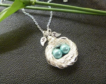 Bird Nest Necklace, Family Initial Leaf, Personalized, Mommy Necklace, Mother's Day, femmart