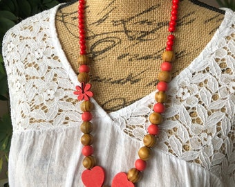 Red heart wood Bead Necklace