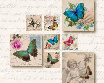 Lady Butterfly 1 inch Square Tiles, Digital Collage Sheet, Download and Print Jpeg Images