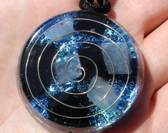 Protection Orgone Blue and Black Healing Crystal Energy Pendant