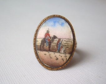 The Journey On Camel Ring Size 5.75-Vintage Antique Sterling Silver-Hand Painted Enamel Porcelain-Joseph Mary-Collectible Religious Jewelry