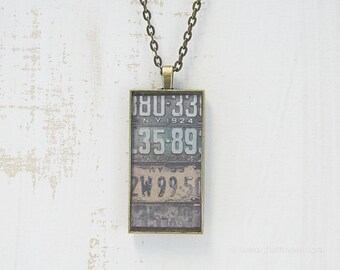 Vintage New York License Plates Necklace | Unique Pendant | New York Jewelry | Antique Bronze | Wearable Art | License Plate