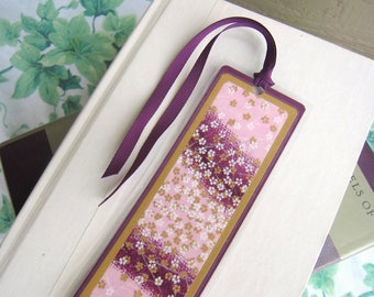 Bookmark Laminated Purple and Pink Floral Japanese Washi Paper