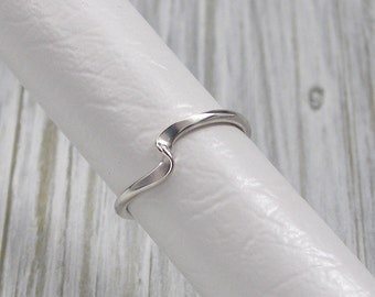 Silver Wave Ring with a Hand Forged Twist, Custom Order