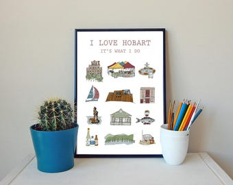 Hobart print, Hobart poster, city, Hobart, Australia, wall art, Tasmania, illustration, drawing, print, original art print