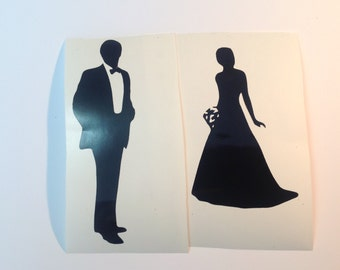 DIY Bride and Groom Silhouette Wedding Party Vinyl Decals Stickers