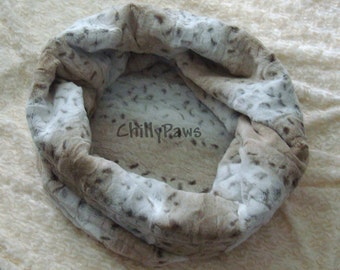 Cuddle Cup - Dog Bed - Slouchy Sides - Ice Taupe Lynx Minky - Snuggle Sack w/ Padded Bottom - Cat Cuddle Cup - Snuggler