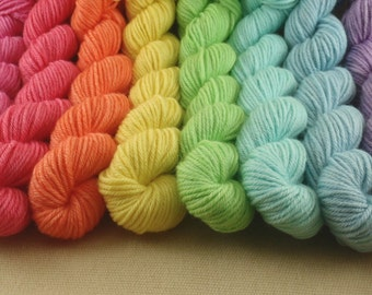 Mini Skeins Pastel Rainbow - Set of 8 - Hand Dyed DK Weight Yarn - 100% Fine Organic Non Superwash Merino Wool