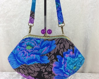 Handmade handbag purse clutch kiss clasp Grace frame bag Philip Jacobs Kaffe Fassett Brocade Peony Flowers