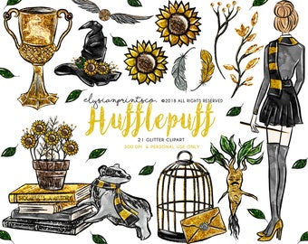 Wizard & Witch Clip Art | Yellow and Silver Fashion Girl Illustration | Glitter Clipart | Sunflower, Badger |Fashion Doll | Planner Stickers