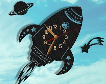 "Balck Rocket Ship Wood Clock 13""(32,5cm) and Comet and Planet Saturn, Retro Roket, Nursery, Boys Room Wall Art Decor #109-x"