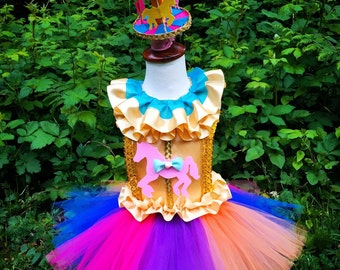 Rainbow carousel horse tutu dress /Carousel horse costume/circus/carnival/tutu dress/multicolor tutu dress
