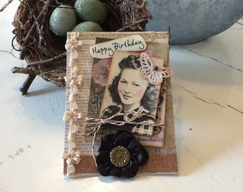 Birthday Card - Handmade Card - Vintage-style Card