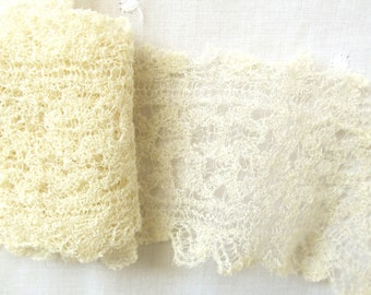"Edwardian STRETCH Chenille Double Edge Lace;  2"" Wide Open Work"