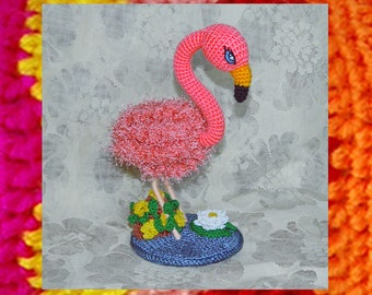 Amigurumi Pattern. Pink Flamingo in the Pond. Crochet bird pattern. Knitted flamingo pattern. Mother's day gift. Valentine's day souvenir.
