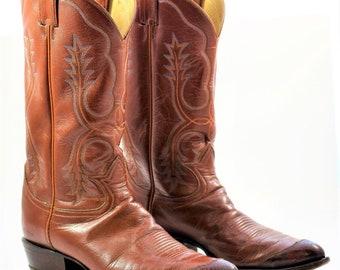 Vintage TONY LAMA K5058 Cowboy Boots Lizard Tip 11 B