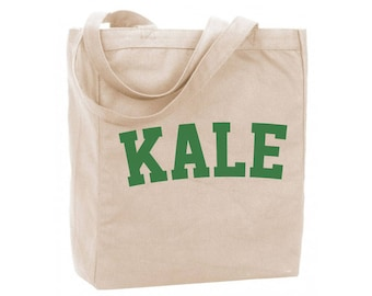 Cotton Reusable Tote - Vegan Gift Bag - Kale Reusable Grocery Tote - Recycled Cotton Canvas Tote - Item 1760 - Green Ink