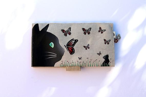"""Door checkbook in illustrated natural linen """"cat and butterflies"""""""