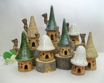 Fairy Houses - Garden Fairy Houses  - Set of 3 Houses  - Handmade on Potters Wheel -- An Assortment of Houses Ready to Ship Now