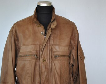 Vintage BUSCH leather parka , men's leather parka ....(020)