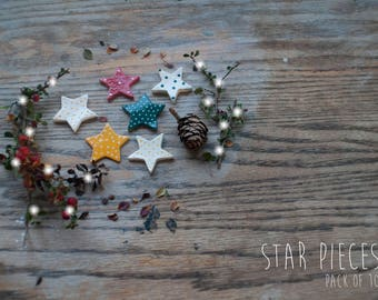 Christmas Clay Star Pieces (Pack 10)